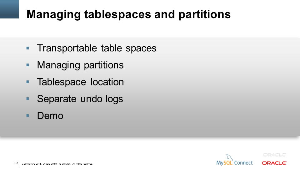 Managing tablespaces and partitions