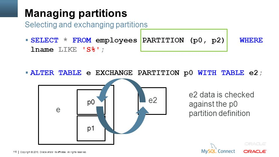 Managing partitions Selecting and exchanging partitions
