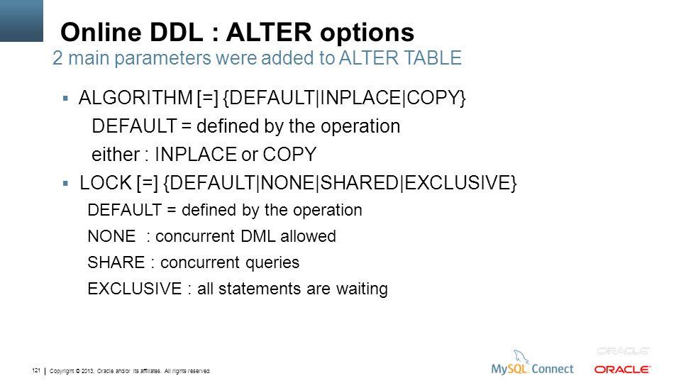 Online DDL : ALTER options