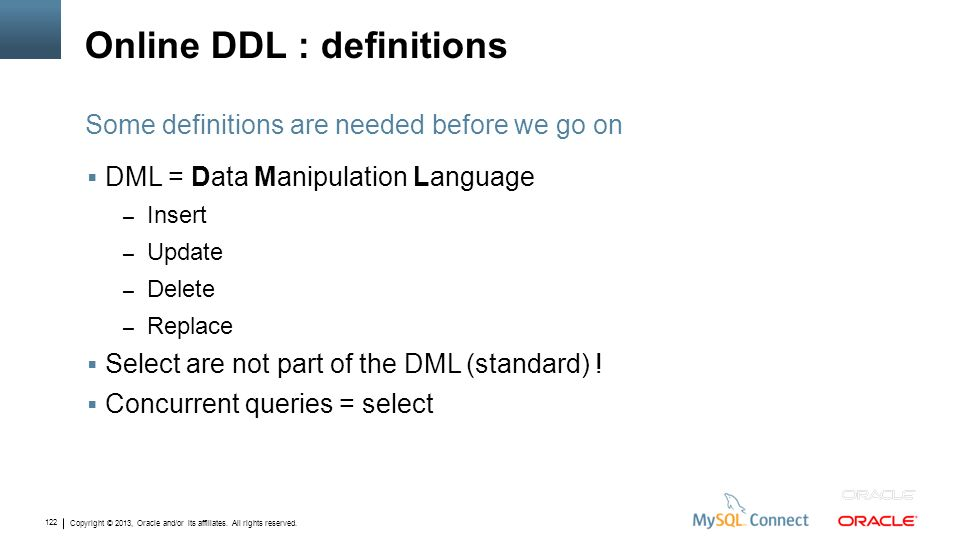 Online DDL : definitions