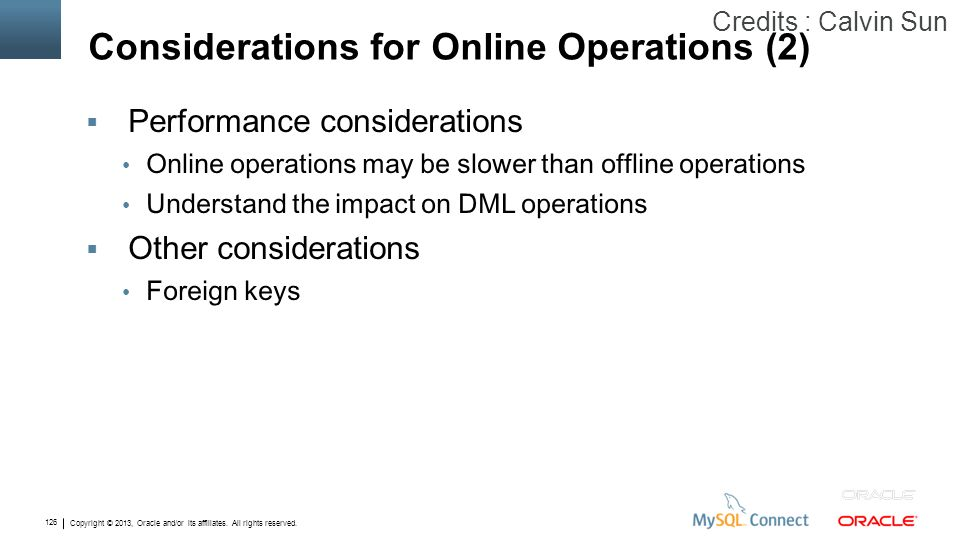 Considerations for Online Operations (2)