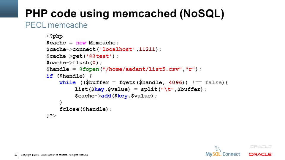 PHP code using memcached (NoSQL)