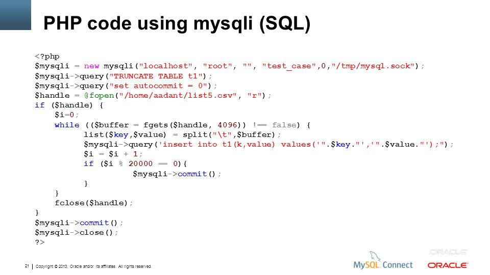 PHP code using mysqli (SQL)