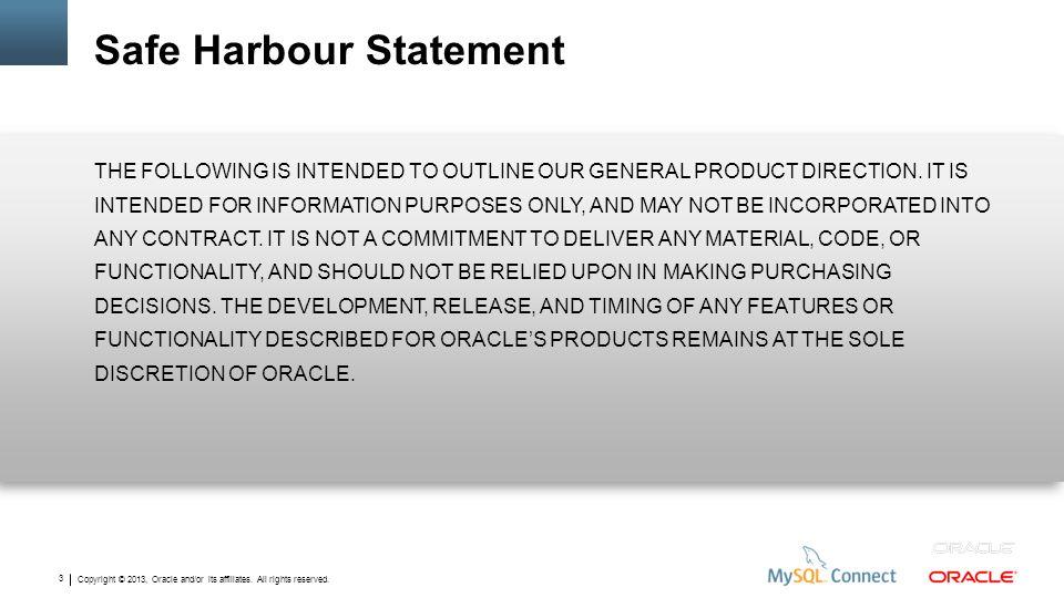 Safe Harbour Statement
