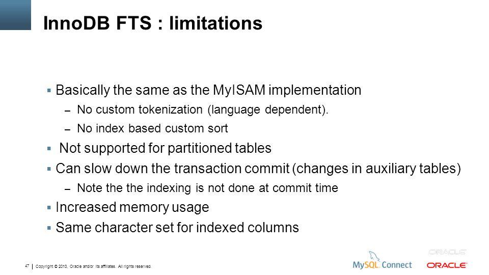 InnoDB FTS : limitations