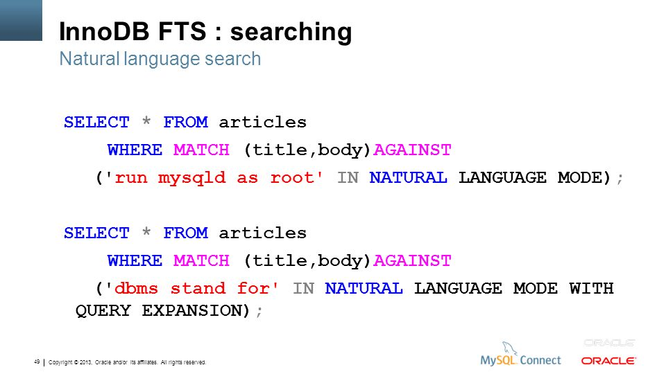 InnoDB FTS : searching Natural language search
