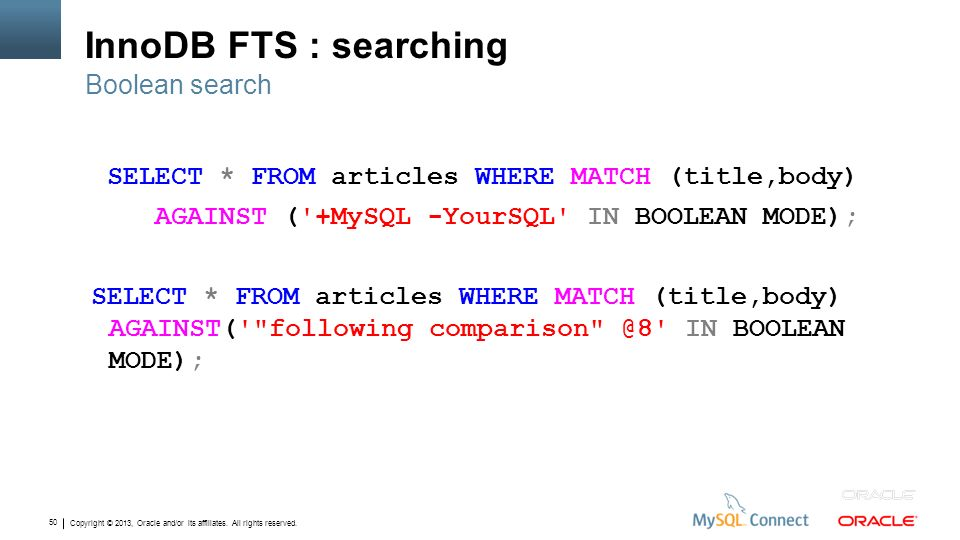 InnoDB FTS : searching Boolean search