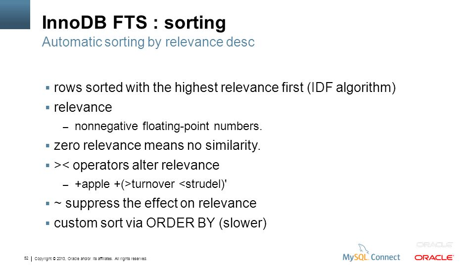 InnoDB FTS : sorting Automatic sorting by relevance desc