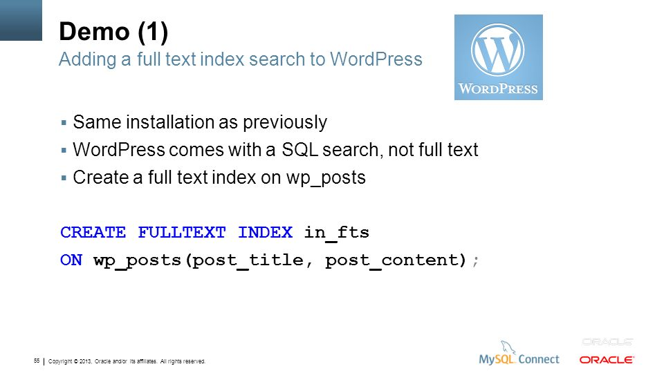 Demo (1) Adding a full text index search to WordPress