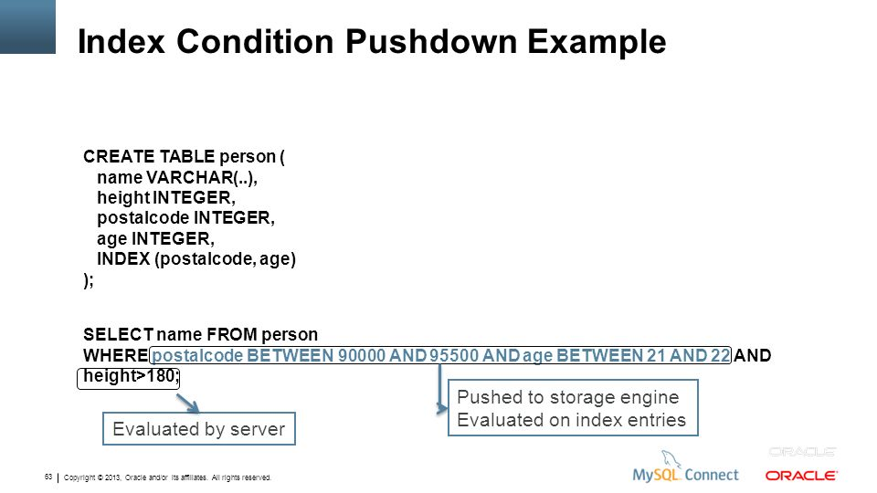 Index Condition Pushdown Example
