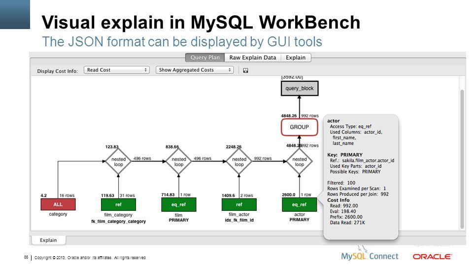 Visual explain in MySQL WorkBench