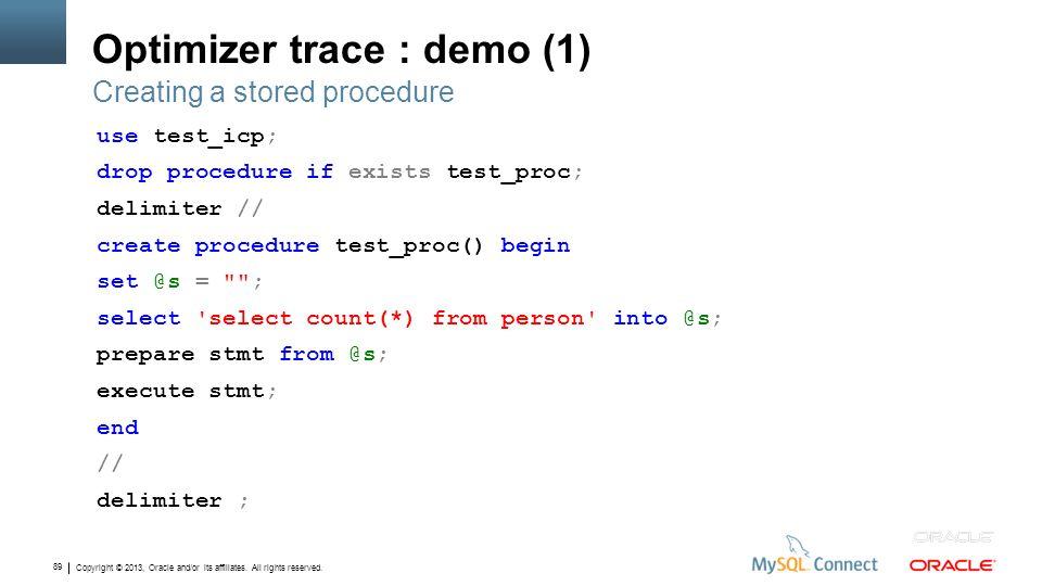Optimizer trace : demo (1)