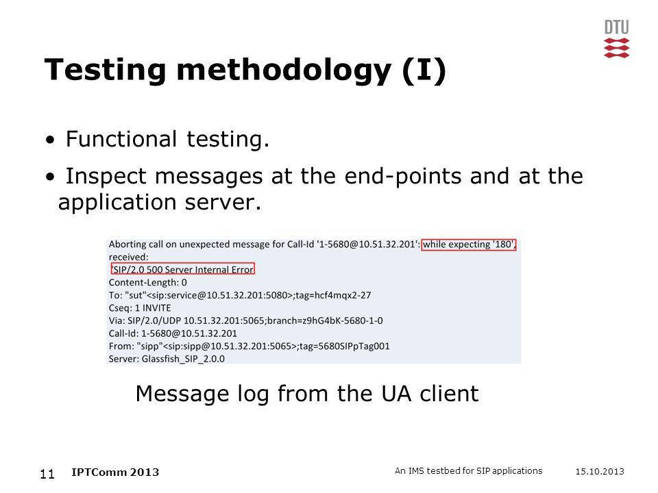Testing methodology (I)