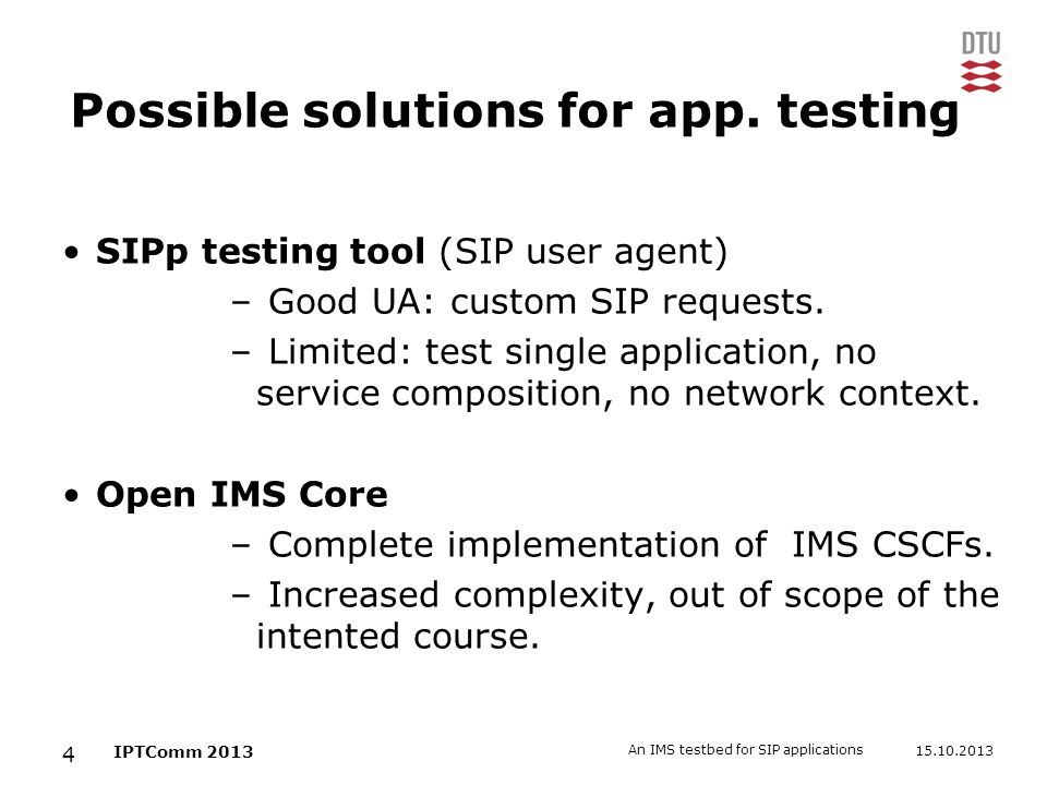 Possible solutions for app. testing