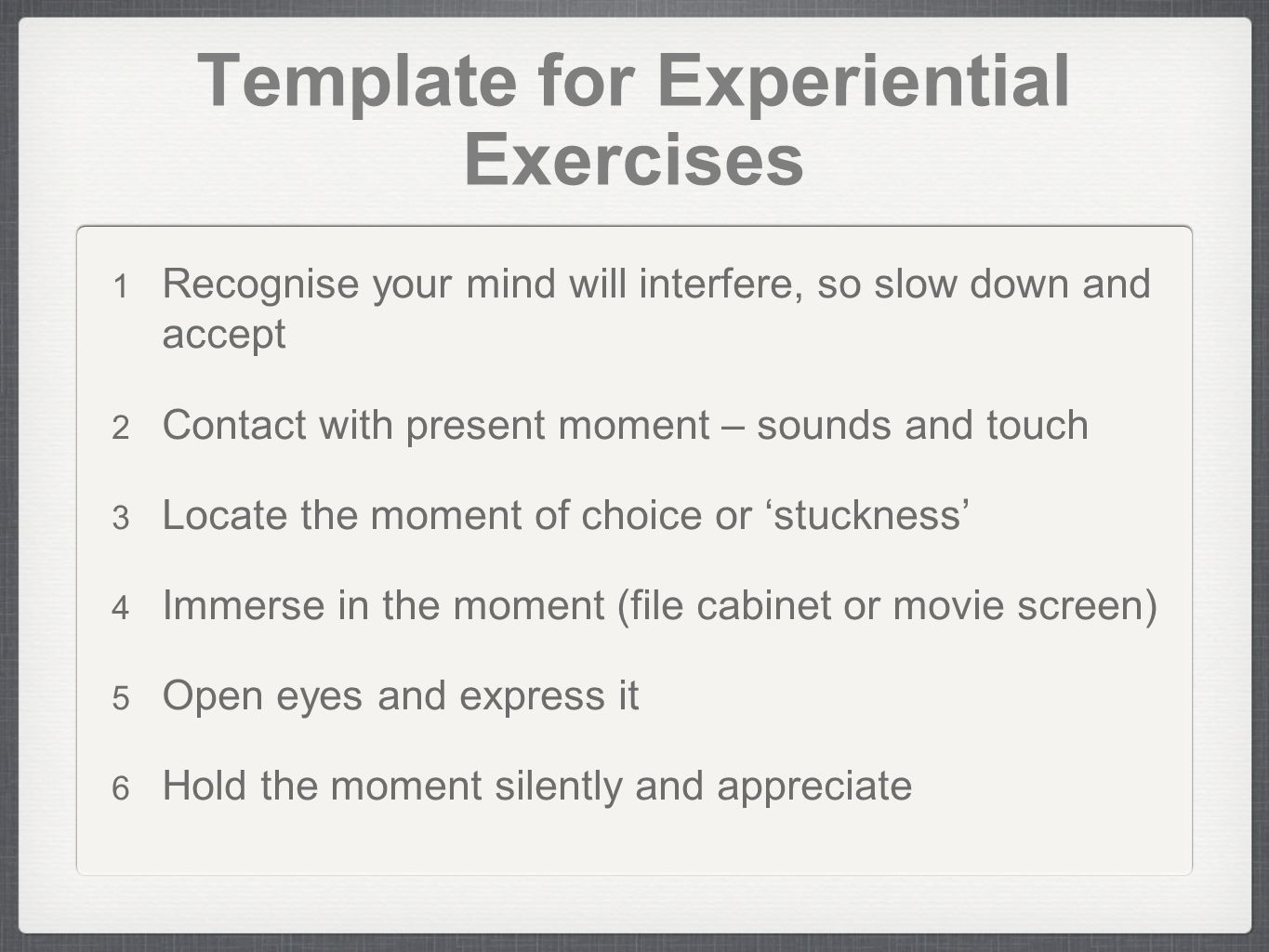 Template for Experiential Exercises