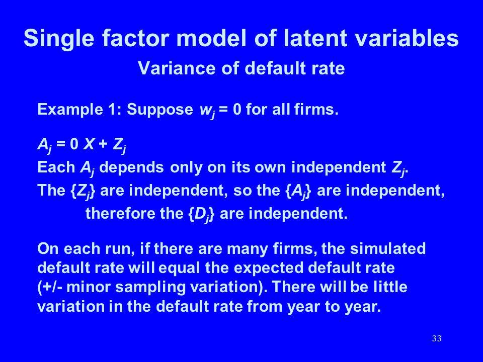 Single factor model of latent variables Variance of default rate