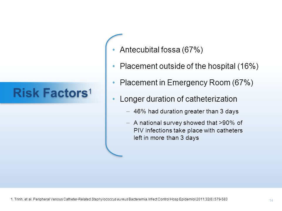 Risk Factors1 Antecubital fossa (67%)