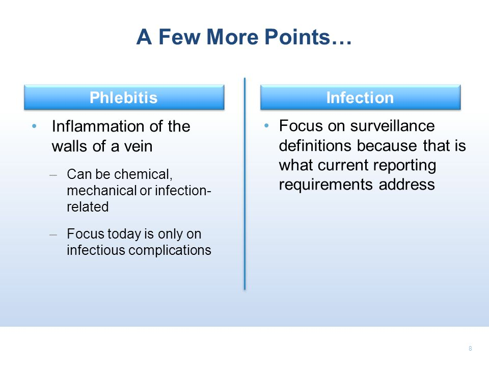 A Few More Points… Phlebitis Infection