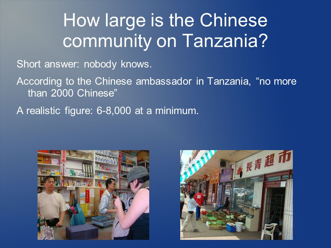 How large is the Chinese community on Tanzania