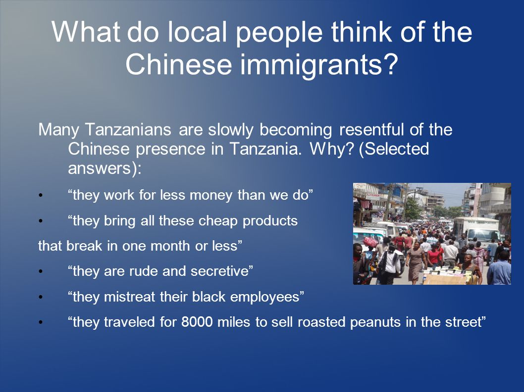 What do local people think of the Chinese immigrants