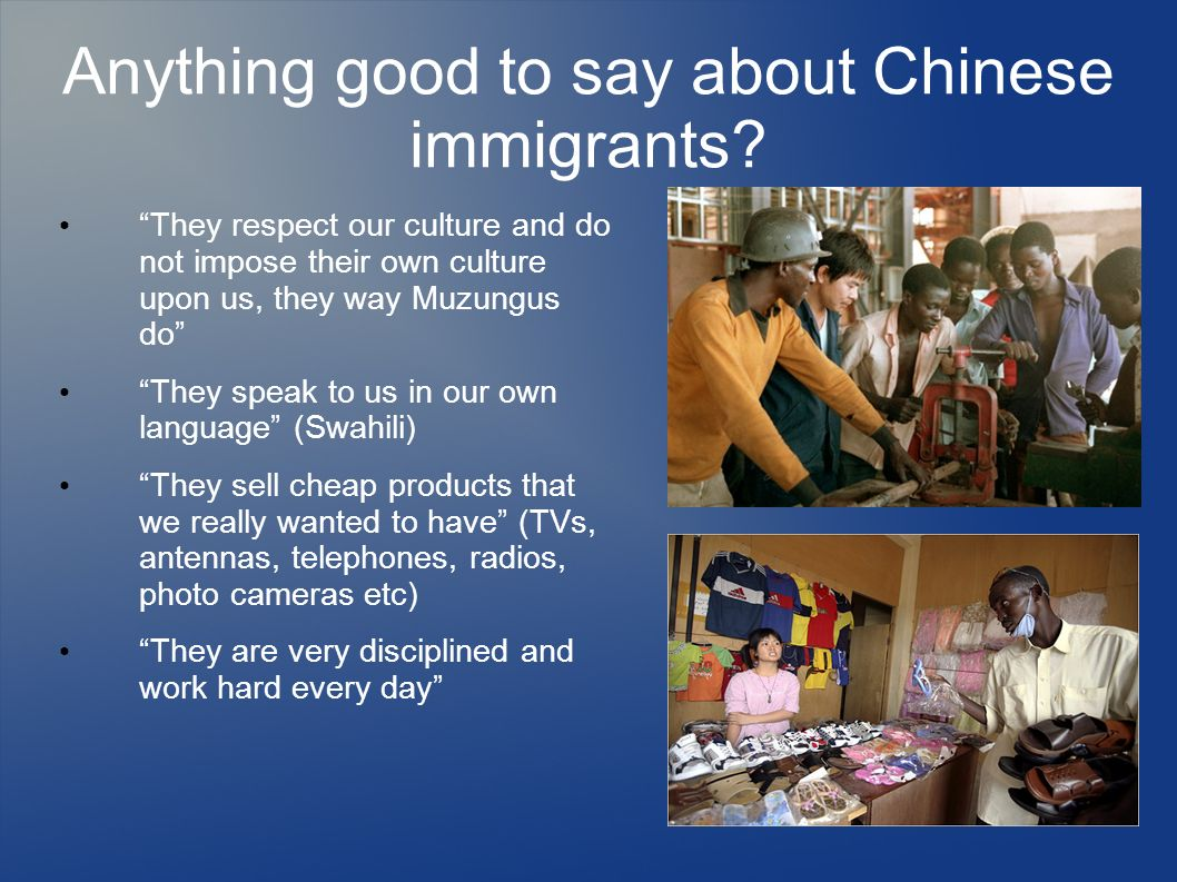 Anything good to say about Chinese immigrants