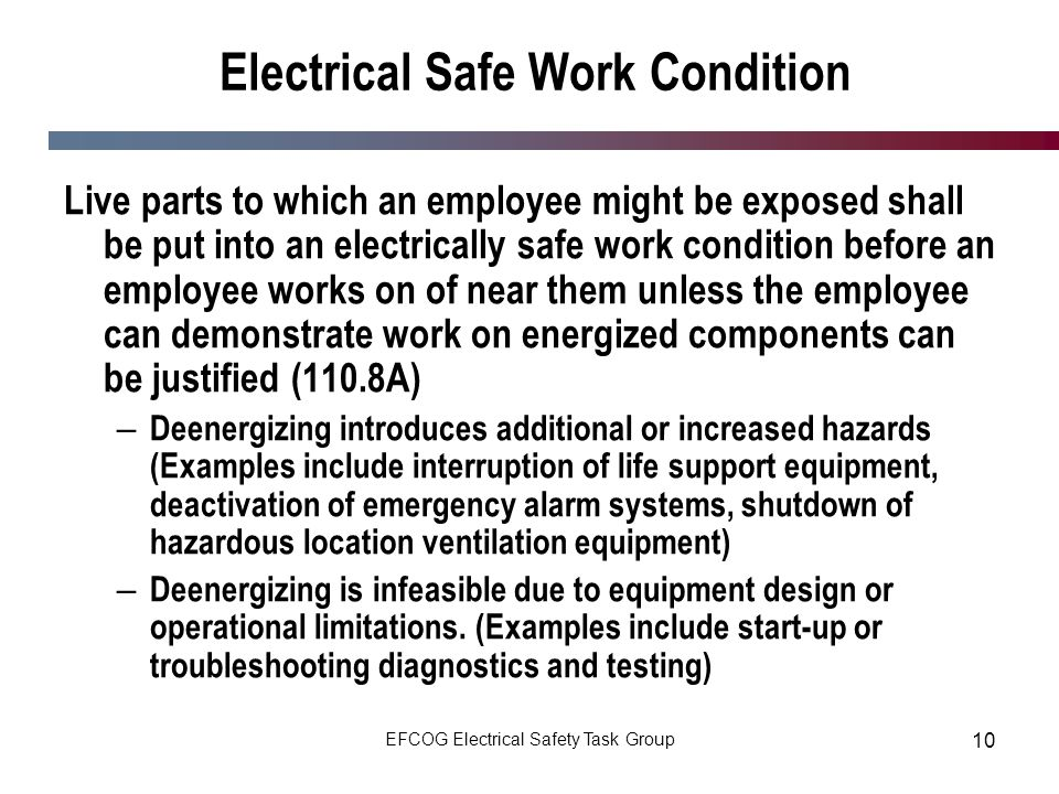 Electrical Safe Work Condition