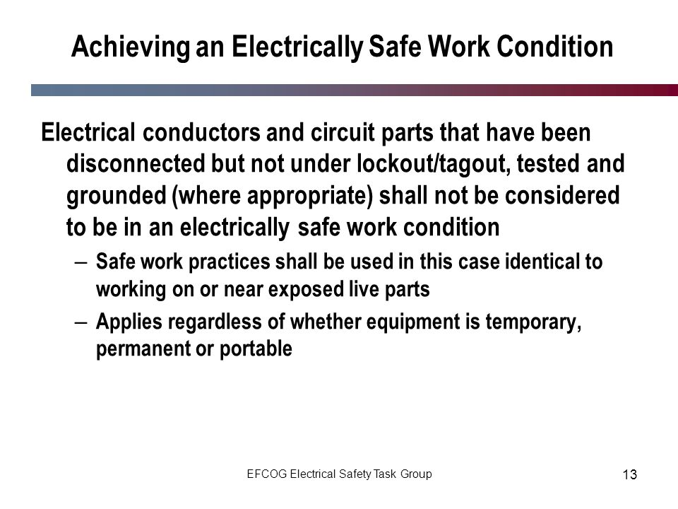 Achieving an Electrically Safe Work Condition