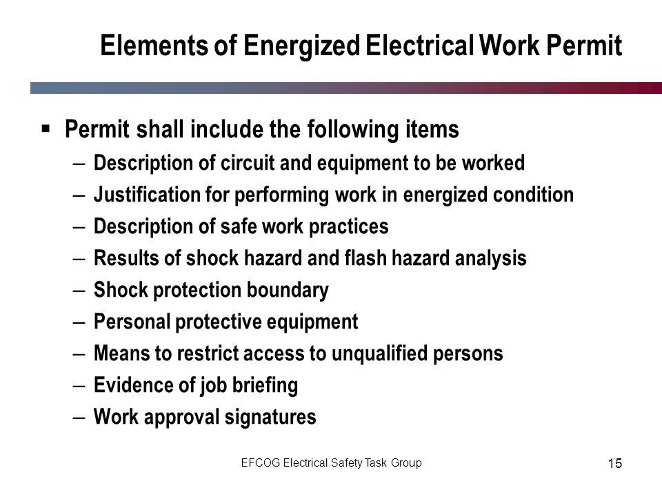 energized electrical work permit template - subcontractor electrical safety nfpa 70e ppt download