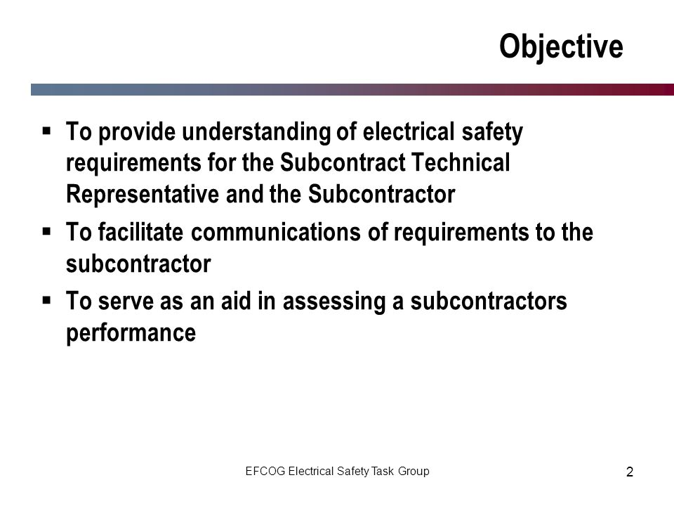 EFCOG Electrical Safety Task Group