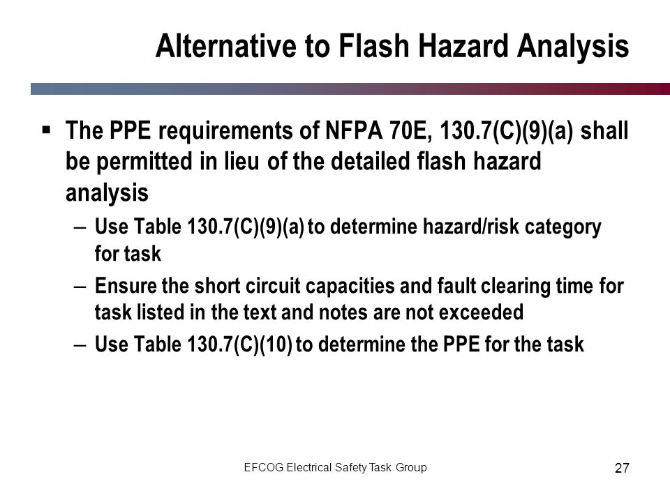 Alternative to Flash Hazard Analysis