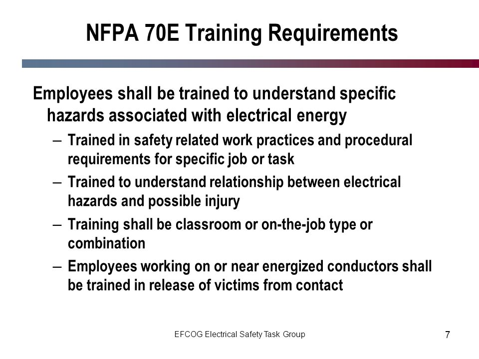 NFPA 70E Training Requirements