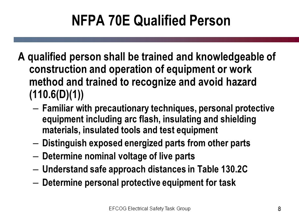 NFPA 70E Qualified Person