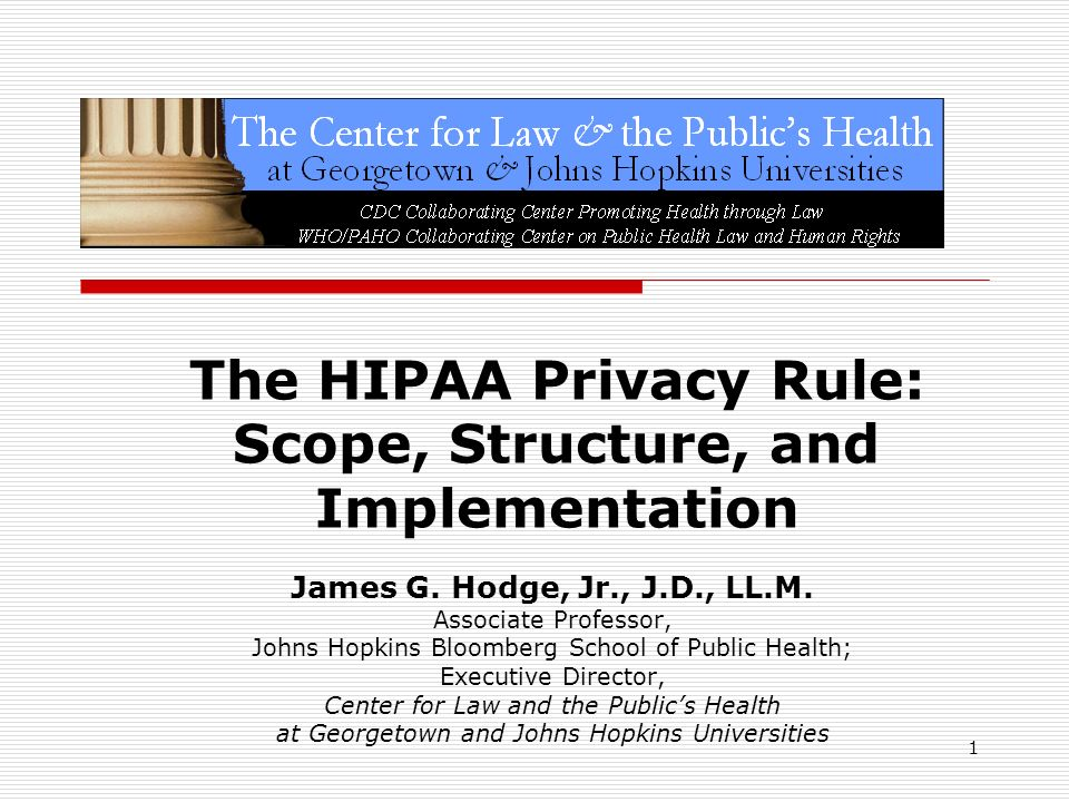 The HIPAA Privacy Rule: Scope, Structure, and Implementation