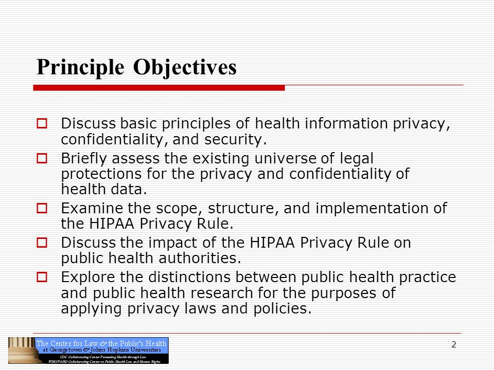 Principle Objectives Discuss basic principles of health information privacy, confidentiality, and security.
