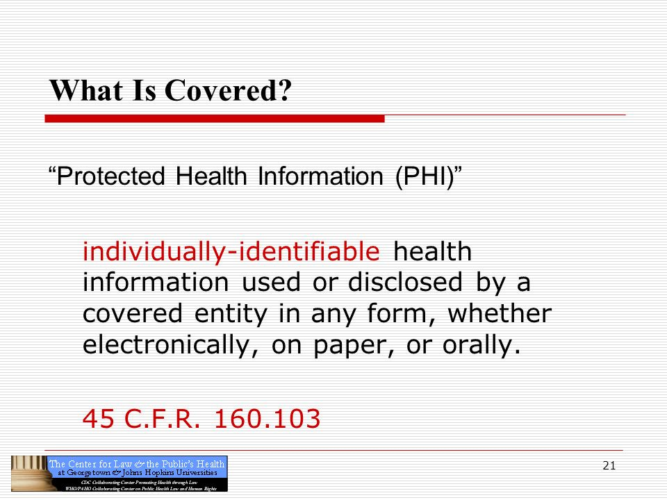 What Is Covered Protected Health Information (PHI)