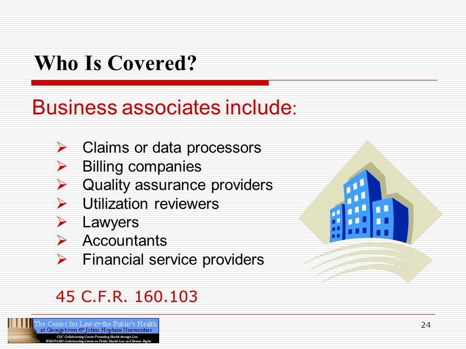 Who Is Covered Business associates include: Claims or data processors