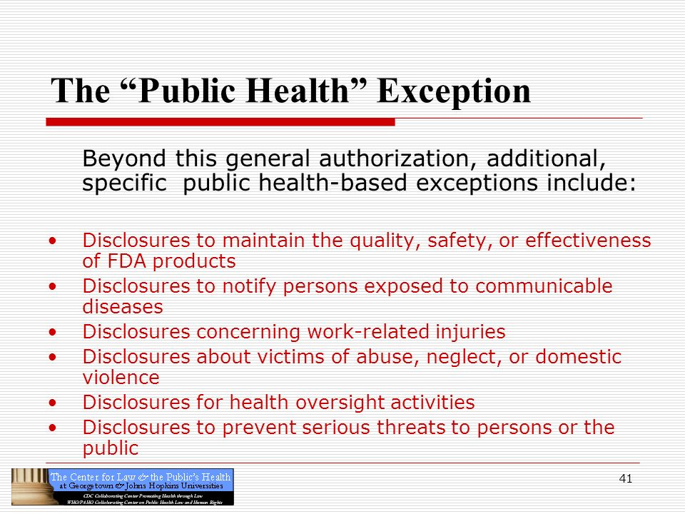 The Public Health Exception