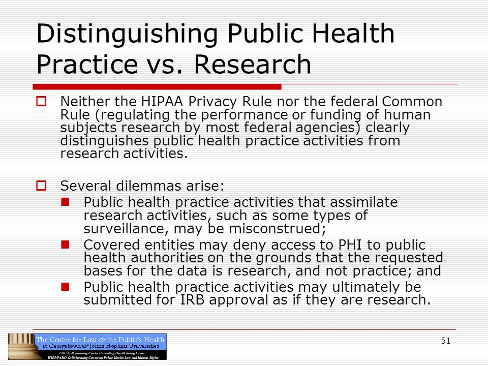 Distinguishing Public Health Practice vs. Research