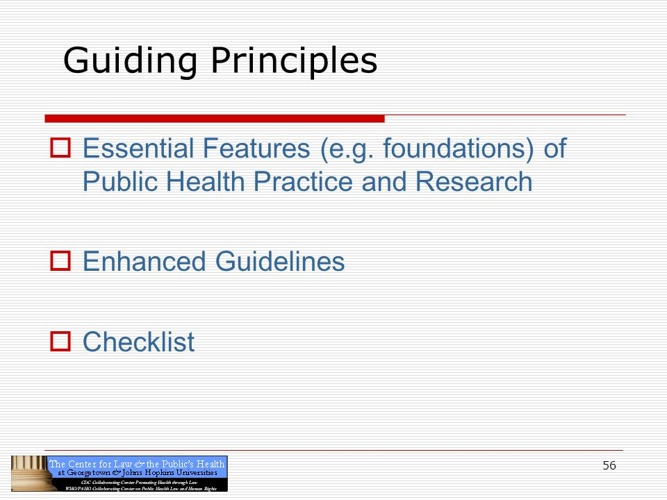 Guiding Principles Essential Features (e.g. foundations) of Public Health Practice and Research. Enhanced Guidelines.