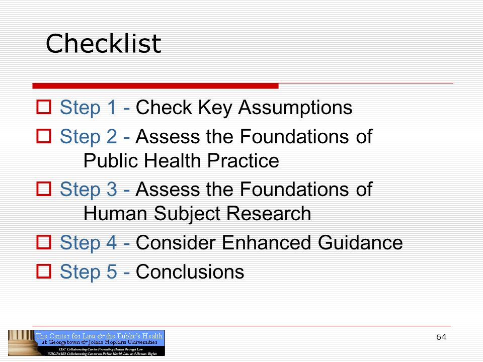Checklist Step 1 - Check Key Assumptions