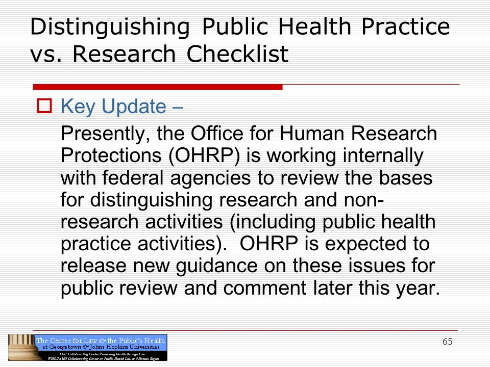 Distinguishing Public Health Practice vs. Research Checklist