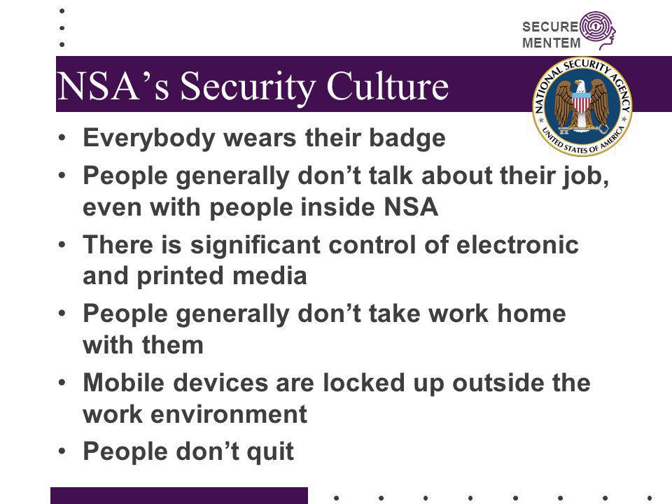 NSA's Security Culture