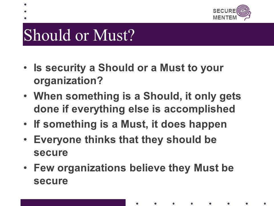 Should or Must Is security a Should or a Must to your organization