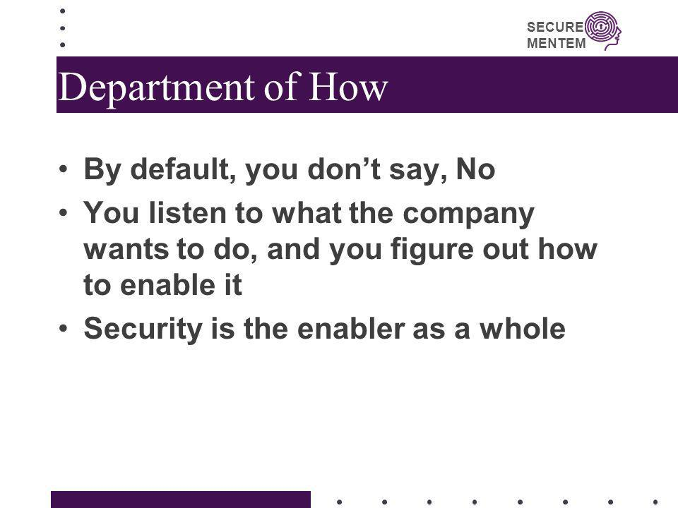 Department of How By default, you don't say, No