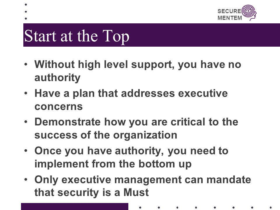 Start at the Top Without high level support, you have no authority