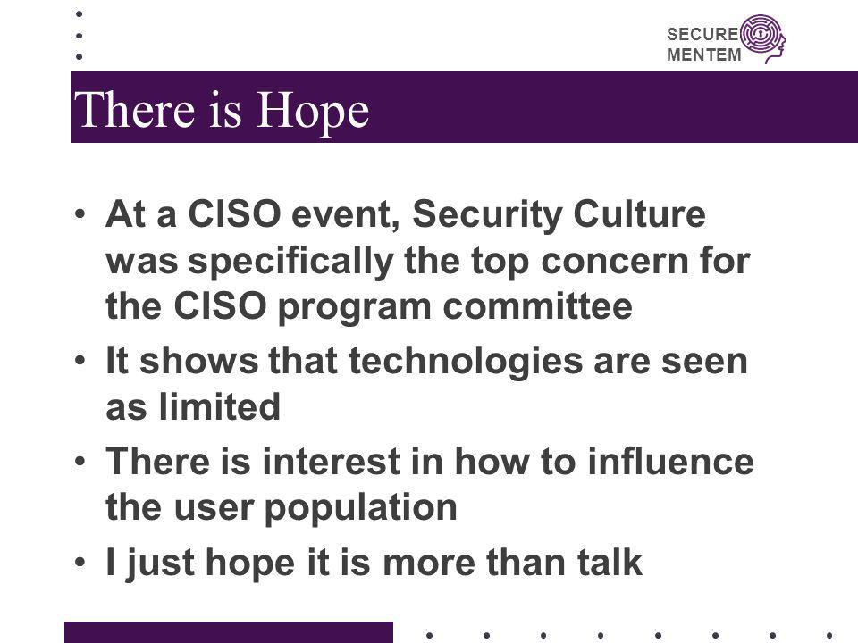 There is HopeAt a CISO event, Security Culture was specifically the top concern for the CISO program committee.