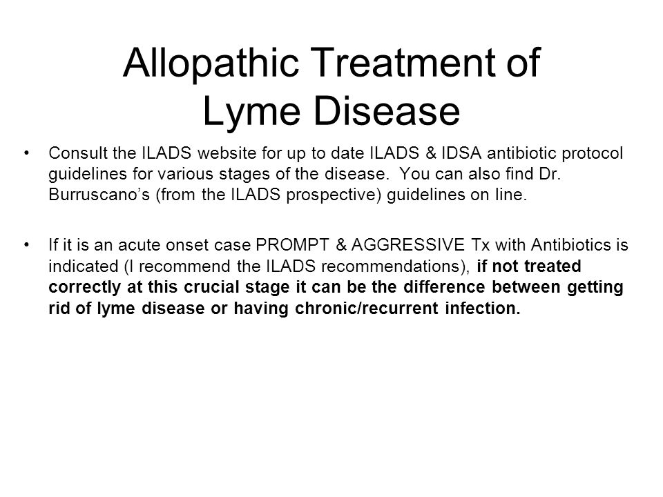 Allopathic Treatment of Lyme Disease