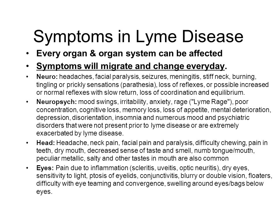 Symptoms in Lyme Disease