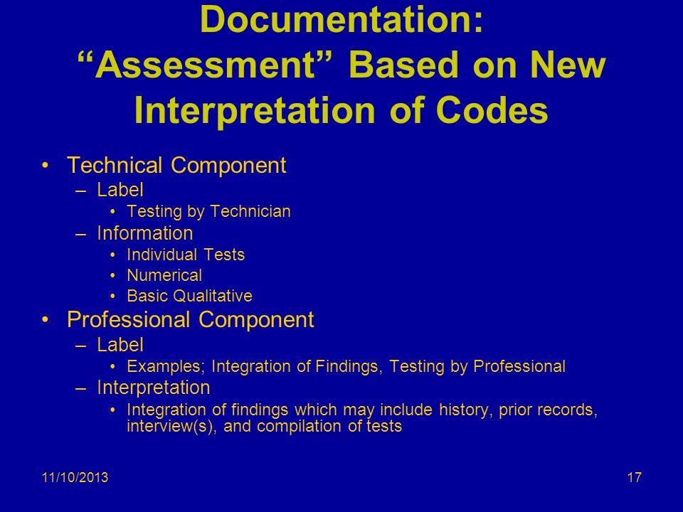 Documentation: Assessment Based on New Interpretation of Codes