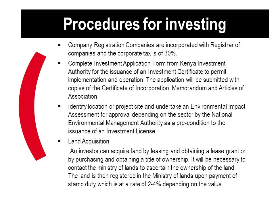 Procedures for investing